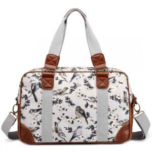 miss lulu oilcloth travel bag bird print grey