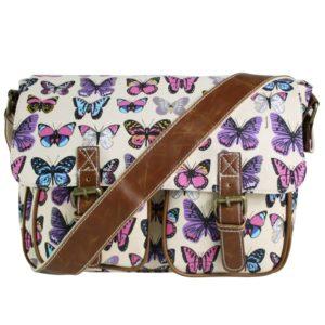 miss lulu canvas satchel butterfly beige photo