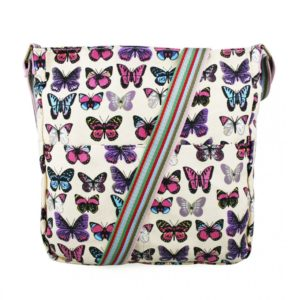miss lulu canvas square bag butterfly beige photo