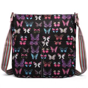 miss lulu canvas square bag butterfly black photo