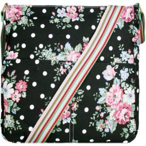 miss lulu canvas square bag flower polka dot black photo