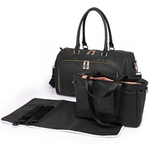 miss lulu leather look maternity changing shoulder bag black photo