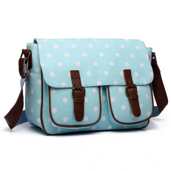 miss lulu oilcloth satchel polka dot in light blue photo