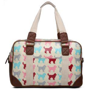 miss lulu oilcloth travel bag dog beige photo