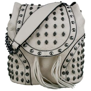 miss lulu skull studded backpack shoulder bag beige photo