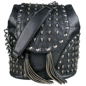miss lulu skull studded backpack shoulder bag black photo