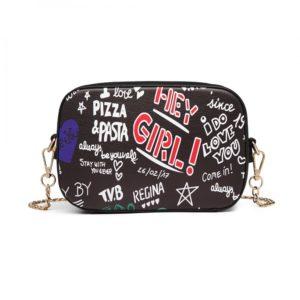 Miss LULU Pu Leather Graffiti Chain Shoulder Bag Photo