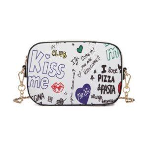 Miss LULU Pu Leather Graffiti Chain Shoulder Bag White Photo