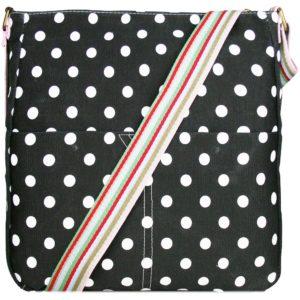 miss lulu canvas square bag polka dot black photo