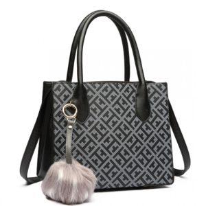 miss lulu handbag pu leather pompom photo