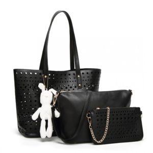 miss lulu laser cut handbag set with bunny keyring photo