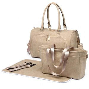 miss lulu leather look maternity changing shoulder bag beige photo