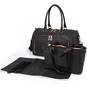 miss lulu leather look maternity changing shoulder bag black photo