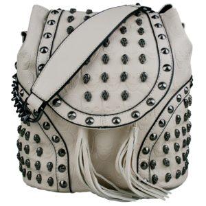 miss lulu skull studded backpack shoulder bag beige photo