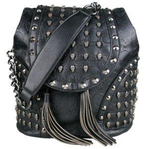 miss lulu skull studded backpack shoulder bag black photo